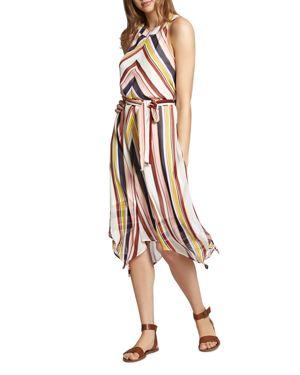 Levels Of The Desert High-Neck Handkerchief Dress, Horizon Stripe