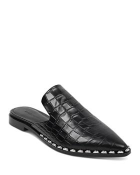 Sigerson Morrison - Women's Elana Point-Toe Croc-Embossed Leather Slide Mules