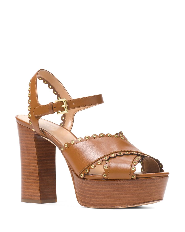 8JqcGwGe0i Womens Jessie Scalloped Leather Platform Block Heel Sandals 6PDskvCS7C