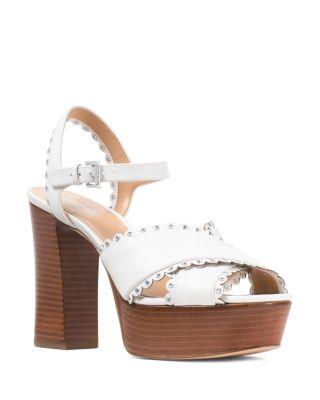 Michael Kors Women's Jessie Scalloped Leather Platform Block Heel Sandals xQ4A6L2Rh