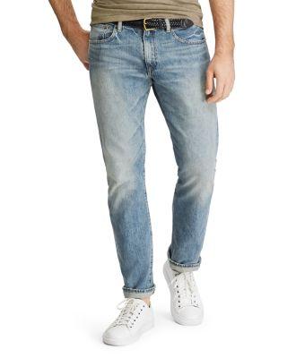 New Polo Ralph Lauren Men`s Hampton Straight Leg Light Wash Jeans