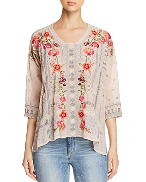 Johnny Was Carnation Embroidered Blouse