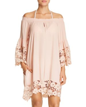 MUCHE ET MUCHETTE Jolie Lace Accent Cover-Up Dress in Blush