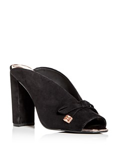 Ted Baker - Women's Marinax Suede High Block -Heel Slide Sandals