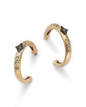 Armenta Blackened Sterling Silver & 18K Yellow Gold Old World Crivelli Champagne Diamond Hoop Earrin