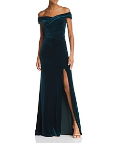 Aidan Mattox - Off-the-Shoulder Velvet Gown - 100% Exclusive