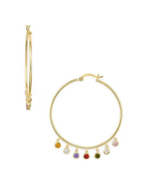 AQUA - Multicolor Drop Hoop Earrings in Gold Tone-Plated Sterling Silver - 100% Exclusive