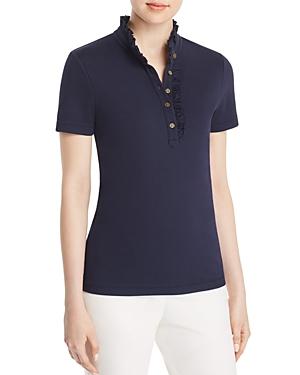 Tory Burch Emily Ruffle Polo Shirt