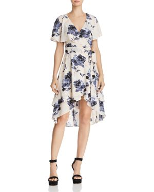 OLIVACEOUS RUFFLED FLORAL PRINT WRAP DRESS - 100% EXCLUSIVE