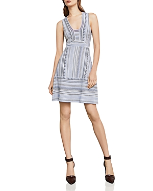 Bcbgmaxazria Striped Jacquard Dress