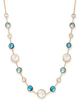 IPPOLITA - 18K Yellow Gold Lollipop Lollitini London Blue Topaz Doublet, Mother-of-Pearl Doublet & Moonstone Necklace in Raindrop, 16""