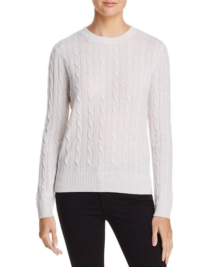 AQUA - Cable Crewneck Cashmere Sweater - 100% Exclusive