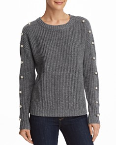 AQUA - Embellished Shaker Stitch Cashmere Sweater - 100% Exclusive