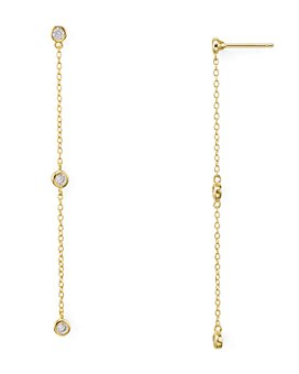 AQUA - Linear Chain Drop Earrings in 18K Gold-Plated Sterling Silver or Platinum-Plated Sterling Silver - 100% Exclusive