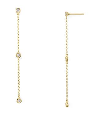 Linear Chain Drop Earrings in 18K Gold-Plated Sterling Silver or Platinum-Plated Sterling Silver