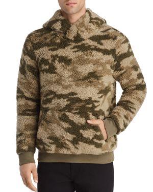 Camouflage-Print Sherpa Hooded Sweatshirt in Green