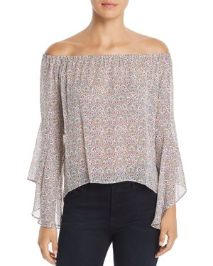 RED HAUTE PRINTED OFF-THE-SHOULDER TOP