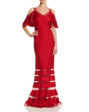 TADASHI PETITES Tadashi Shoji Petites Pintucked Cold-Shoulder Gown - 100% Exclusive in Deep Red