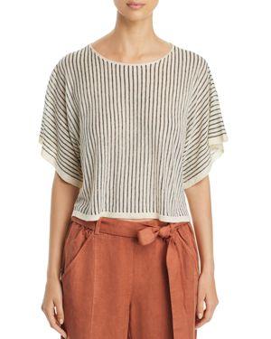 Short-Sleeve Vertical Striped Organic Sweater, Plus Size, Blue