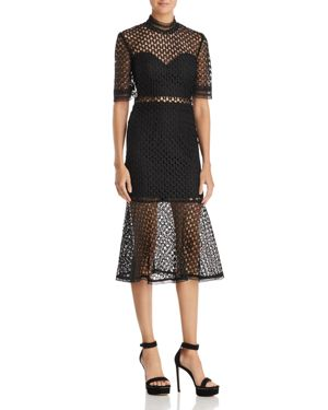Fiona Mesh Funnel-Neck Midi Dress, Black