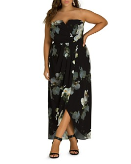 City Chic Plus - Orchid Dreams Strapless Maxi Dress
