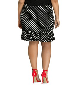 City Chic Plus - Dotted Faux-Wrap Ruffle Skirt