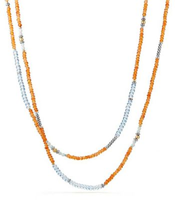 David Yurman - Tweejoux Bead Necklace in Orange Chalcedony, Blue Topaz & Amazonite with 18K Gold
