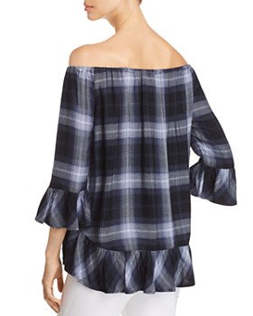 BeachLunchLounge - Off-the-Shoulder Plaid Top