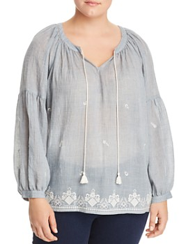 VINCE CAMUTO Plus - Embroidered Gauze Peasant Top