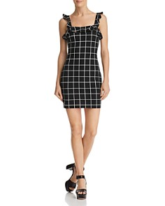 AQUA - Ruffled Windowpane Dress - 100% Exclusive