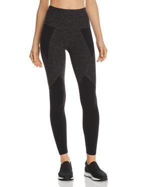 BEYOND YOGA High-Waist Space-Dye Paneled Full-Length Leggings in Black Charcoal
