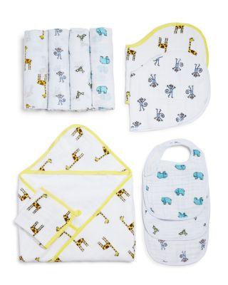 Infant Unisex Muslin-Backed Hooded Towel & Washcloth Set