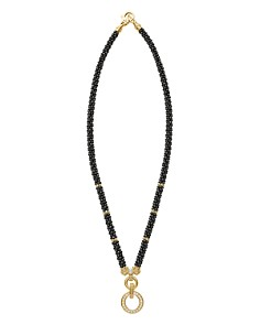 LAGOS - Circle Game Black Caviar Ceramic Rope Necklace with Diamonds and 18K Gold, 16""