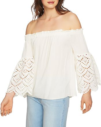 1.STATE - Eyelet Sleeve Off-the-Shoulder Blouse