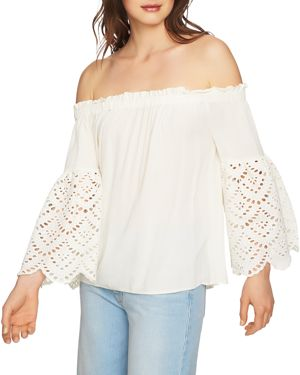 1.state Eyelet Sleeve Off-the-Shoulder Blouse