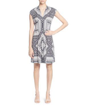 V-Neck Sleeveless Pleated Geometric-Print A-Line Dress, Keyboard Geo Black
