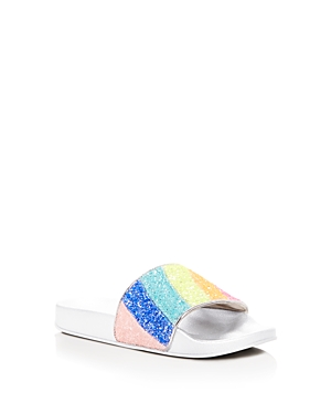 Steve Madden Girls' Rainbow Glitter Pool Slide Sandals - Little Kid, Big Kid