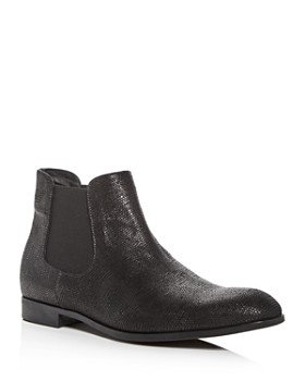 Armani - Men's Snake Embossed Leather Chelsea Boots