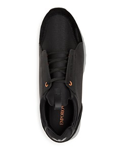 Armani - Men's Leather & Suede Lace Up Sneakers