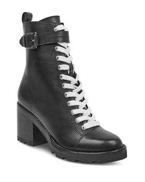 MARC FISHER LTD. WOMEN'S WAREN ROUND TOE LACE UP LEATHER BOOTS