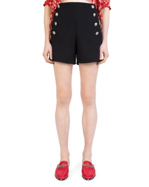 The Kooples Daisy Crepe Button-Detail Mini Shorts