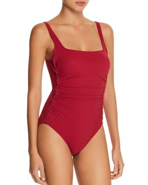 PROFILE BY GOTTEX MOTO LACE-UP ONE-PIECE SWIMSUIT