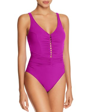 PROFILE BY GOTTEX CUTOUT FRONT ONE PIECE SWIMSUIT