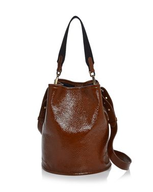 CREATURES OF COMFORT Creatures Of Comfort Small Leather Bucket Bag in Amber/Silver