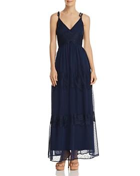 AQUA - Swiss Dot & Lace Maxi Dress - 100% Exclusive