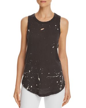 CHASER DISTRESSED SPLATTER PRINT MUSCLE TANK