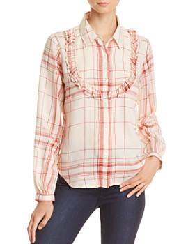FRAME - Ruffled Bib Plaid Shirt