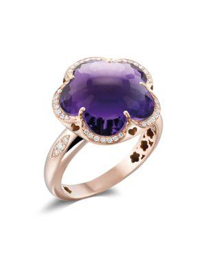 Pasquale Bruni 18K Rose Gold Bon Ton Amethyst & Diamond Floral Ring