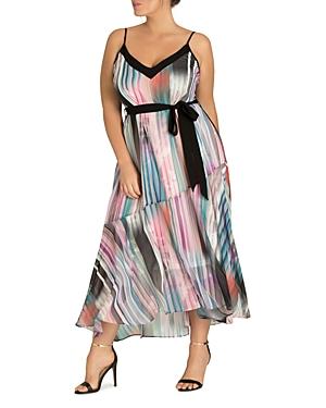 City Chic Plus Moody Stripe Maxi Dress