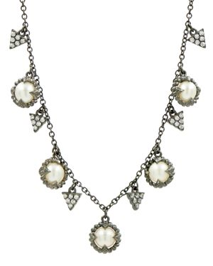 FREIDA ROTHMAN CULTURED FRESHWATER PEARL TEXTURED STATEMENT NECKLACE, 16